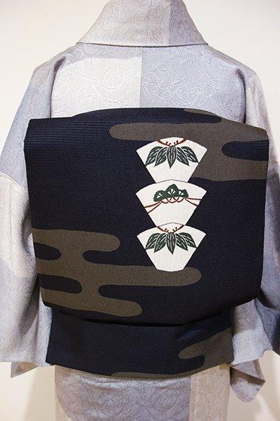 WEB限定【L-3272】洒落袋帯 黒色 霞に松竹の図