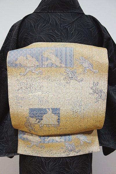 あおき【L-3282】西陣製 洒落袋帯 狐色 横段に鳥獣戯画図(証紙付・藍香房扱い)