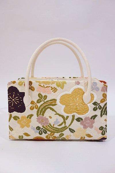 世田谷【G-852】利休バッグ 唐織 象牙色 梅や桜に四季花の丸文(小サイズ・新品)