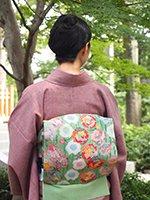 銀座【帯2396】中村由美子作 型絵染 名古屋帯「薔薇」