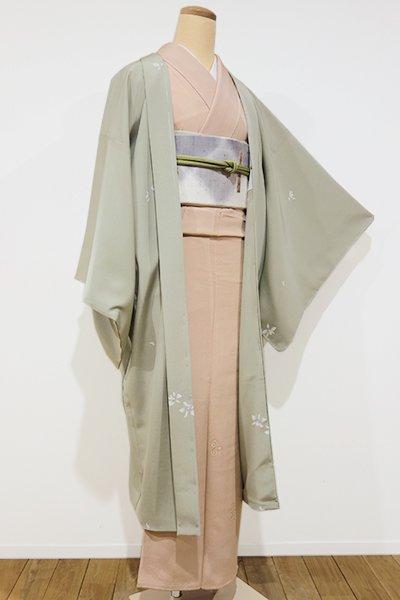 銀座【E-797】羽織 柳鼠色 蘭の図(しつけ付)