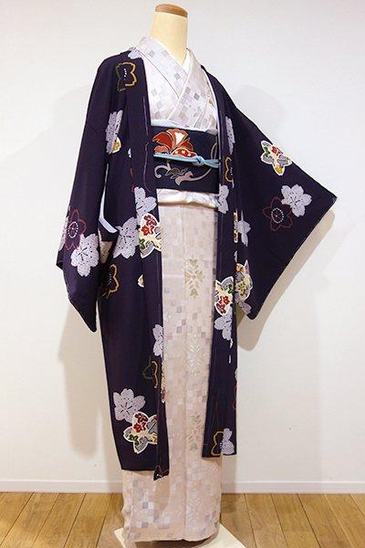 銀座【E-799】縮緬地 羽織  似せ紫色 桜の図(しつけ付)