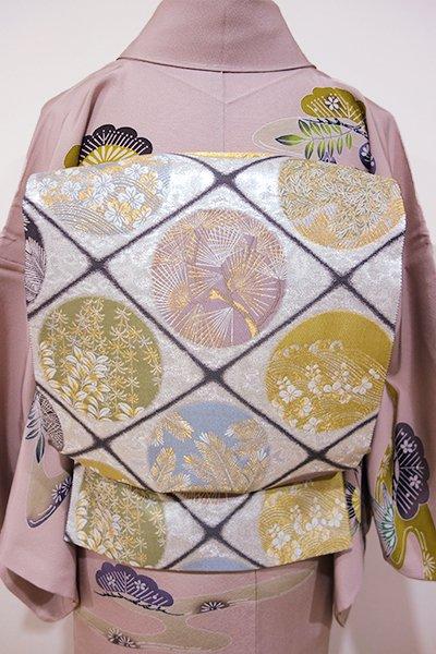 WEB限定【L-3298】袋帯 銀色 松や桜の丸文