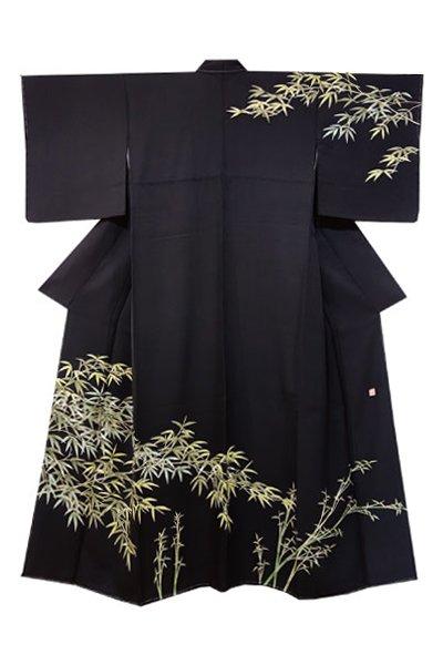 銀座【着物2066】訪問着 黒色 竹の図 (落款入)