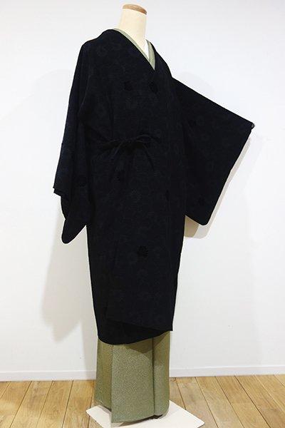 銀座【E-800】輪奈ビロード 道中着 黒色 菊の地紋