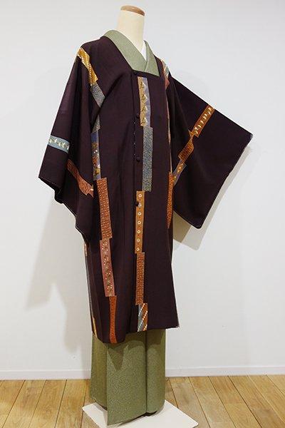 銀座【E-802】道行コート 茶褐色 短冊文