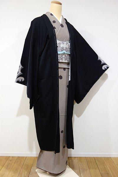 銀座【E-807】絵羽 羽織 黒色 装飾文(しつけ付)