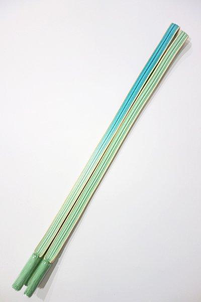 銀座【G-865-2】京都 衿秀製 帯締め 畝打組 白群色×新橋色 暈かし(新品)