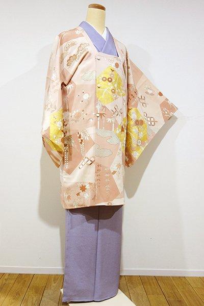 WEB限定【E-809】絵羽 道行コート 淡い一斤染色 裂取りに梅や菊など