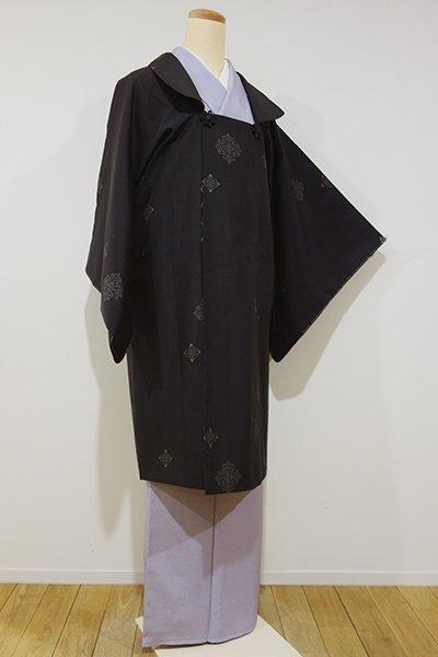 世田谷【E-810】紬地 被布衿 和装コート 檳榔子染色 華文
