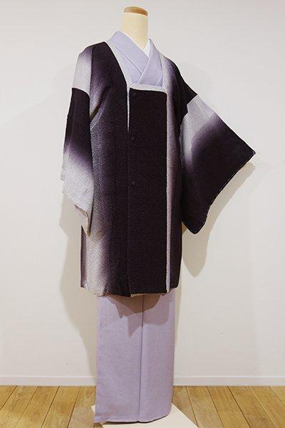 銀座【E-811】道行コート 似せ紫色×白鼠色 竪暈かし