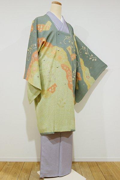 銀座【E-813】松井青々作 絵羽 道行コート 青白橡色×抹茶色 道長取りに梅など(落款入)
