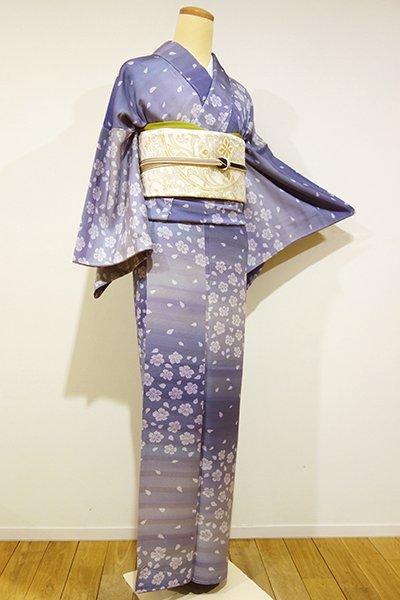 銀座【D-1781】小紋 半色 横段暈かしに桜の図(しつけ付)