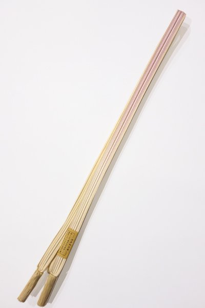 世田谷【G-868-2】京都 衿秀製 帯締め 畝打組 薄桜色×象牙色 暈かし(新品)