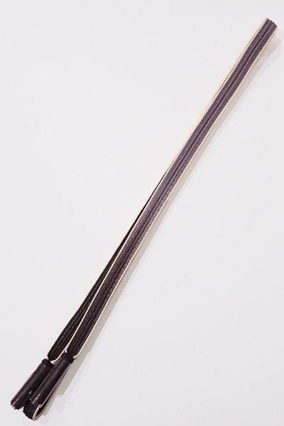 銀座【G-876】京都 衿秀製 帯締め 畝打組 黒鳶色×薄鼠色 暈かし(新品)