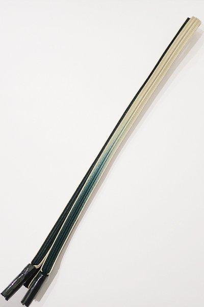 銀座【G-877-5】京都 衿秀製 帯締め 畝打組 革色×象牙色 暈かし(新品)