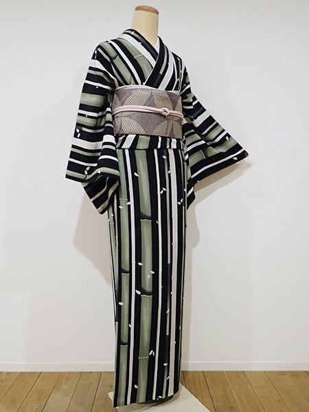 WEB限定【D-1785】小紋 黒色×白色×老竹色 竹に桜の花弁の図