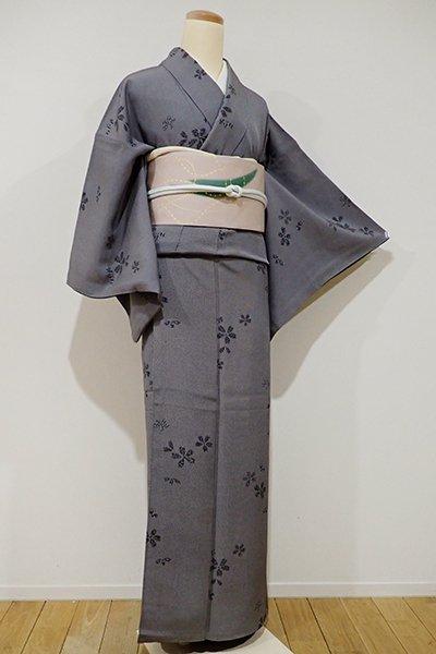 銀座【D-1789】小紋 黒色 万筋に桜の図(落款入)