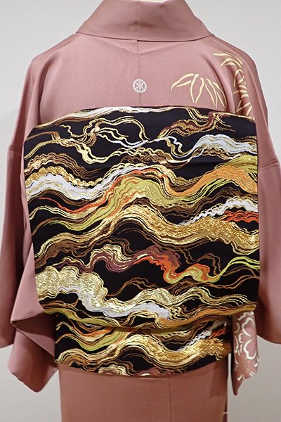 あおき【L-3365】西陣 河合美術織物製 袋帯 黒色 雲の図(落款入)