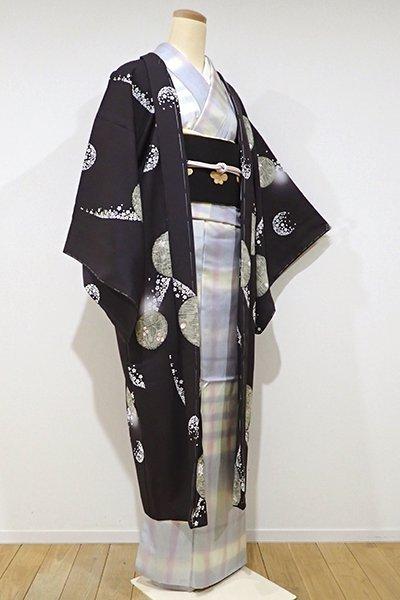 WEB限定【E-820】羽織 黒橡色 桜や楓の丸文(しつけ付き)