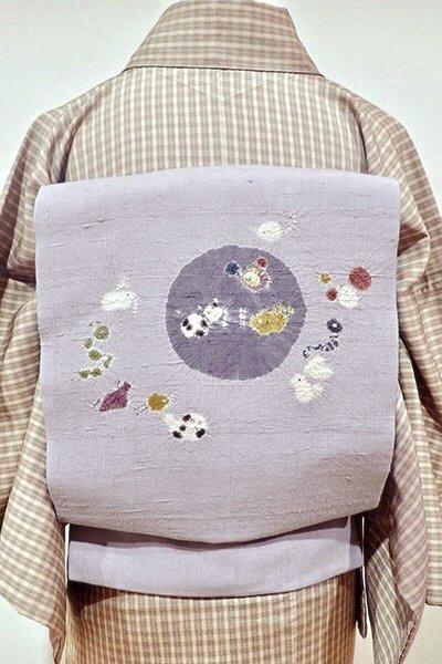あおき【K-4746】生紬地 絞り染め 名古屋帯 淡い藤鼠色 十二支の図(落款入)