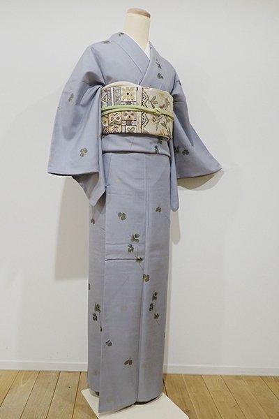 世田谷【D-1813】紬地 小紋 灰青色 葛の図