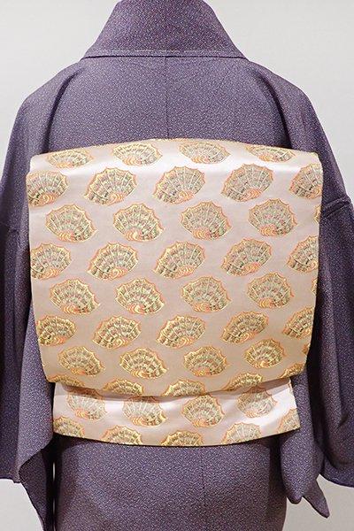 あおき【K-4751】西陣 龍村美術織物製 光波帯 淡い一斤染色 彩貝文