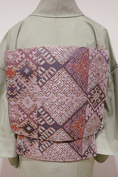 あおき【L-3425】西陣 川島織物製 本袋帯 薄鼠色 抽象的な菱文(落款入)