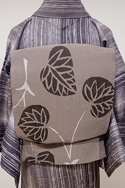 WEB限定【L-3428】洒落袋帯 茶鼠色 葵の図