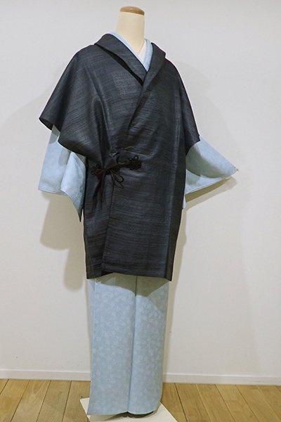 銀座【E-832】タッサーシルク 袖なしコート 青褐色 無地(新品)