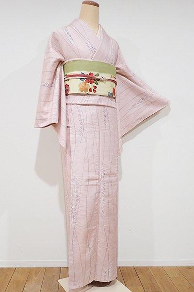 世田谷【D-1817】紬地 絞り染め 小紋 薄桜色 抽象文