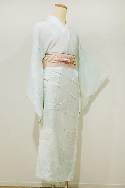 銀座【F-283】長襦袢 淡い青竹色 花に熨斗の地紋