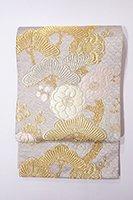 銀座【帯2488】唐織 袋帯 銀色地 梅に松の図