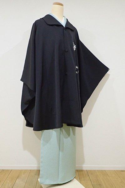 世田谷【E-833】総刺繍 マント 藍鉄色 藤の図