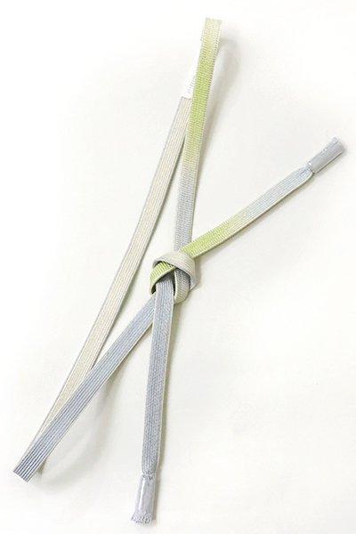 銀座【G-894-3】京都 衿秀製 帯締め 平組 若菜色×水色 暈かし(新品)