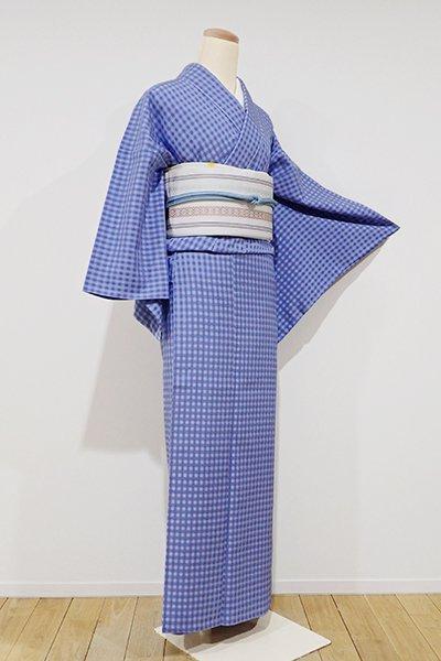 銀座【A-2286】単衣 御召 群青色濃淡 小格子