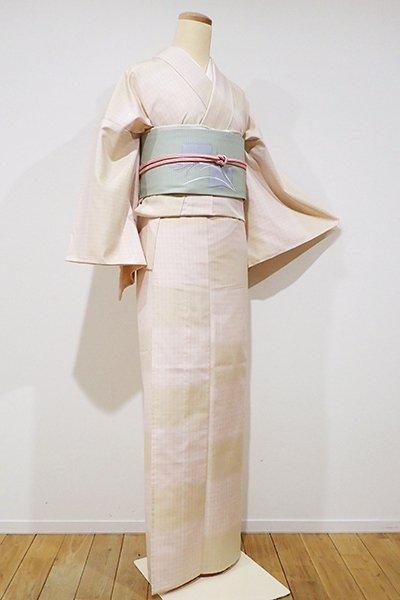 銀座【A-2295】単衣 紬 桜色×蒸栗色 格子に変わり段(反端付き)