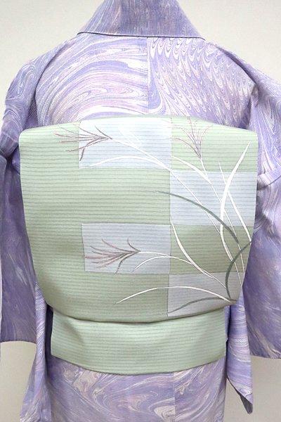 あおき【K-4827】絽塩瀬 染名古屋帯 青磁鼠色 芒の図