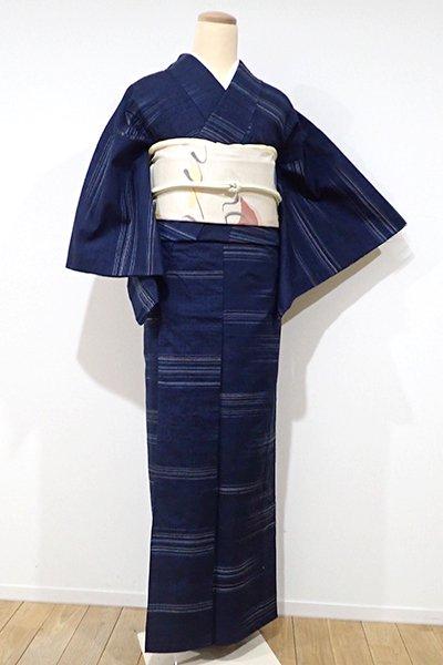 銀座【A-2305】↑Sサイズ↓→ホッソリ←単衣 伊那紬 濃藍色 微細な横縞(証紙付)
