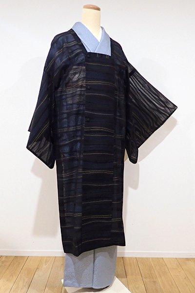 銀座【E-840】薄物 道行コート 黒色×高麗納戸色×玉蜀黍色 微細な横縞