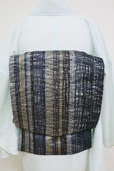 あおき【L-3497】夏 波筬織 洒落袋帯 青褐色 多彩な縞
