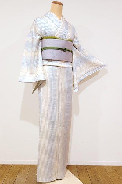 銀座【D-1844】トールサイズ 単衣 小紋 練色×白藍色 竪暈かしに格子