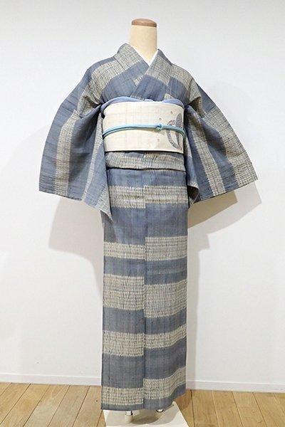 銀座【D-1845】単衣 紬地 絞り染め 小紋 藍鼠色×利休白茶色 横段