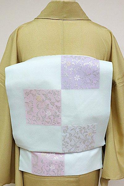あおき【K-4877】西陣製 絽 織名古屋帯 藍白色 市松に唐草文(証紙付)(N)