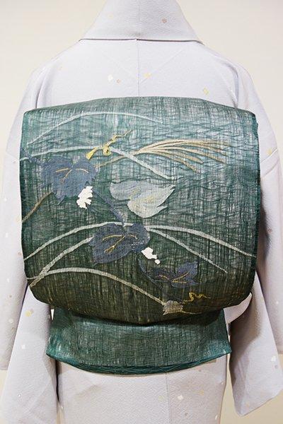 あおき【L-3503】波筬織り 夏 洒落袋帯 虫襖色 秋草の図