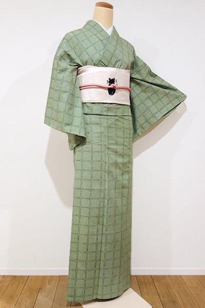 銀座【A-2315】単衣 紬 青白橡色 絣格子