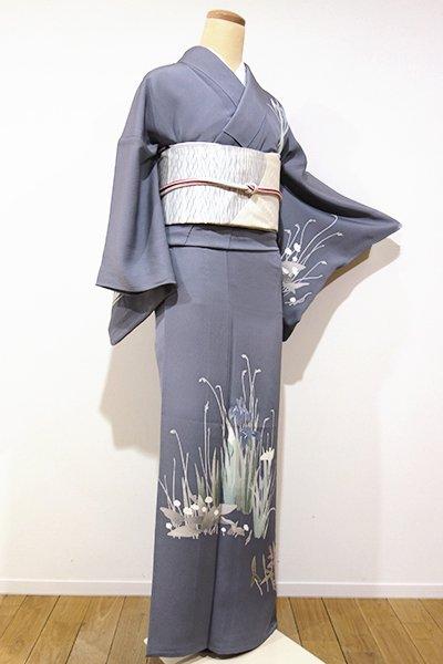 WEB限定【B-1765】←ユッタリ→単衣 付下げ 藍墨茶色 杜若や沢潟の図