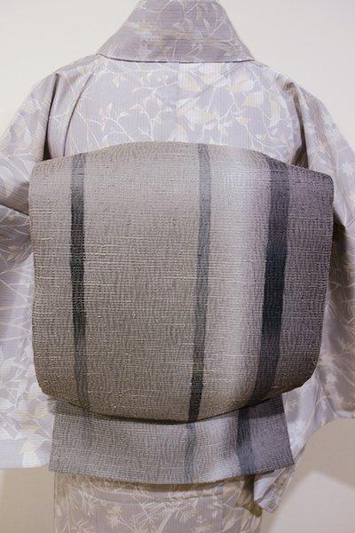 WEB限定【L-3508】夏紬地 洒落袋帯 黒橡色系濃淡 竪暈かし