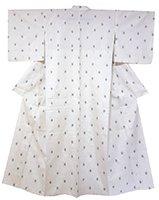 【着物2147】本場奄美大島紬 単衣 細縞に幾何絣 (証紙付)
