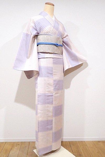 銀座【A-2337】単衣 紬 桜色×藤色 変わり段に小格子(反端付)